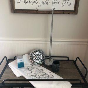 Bath Bundle:Stainless&white. Shower head curtain
